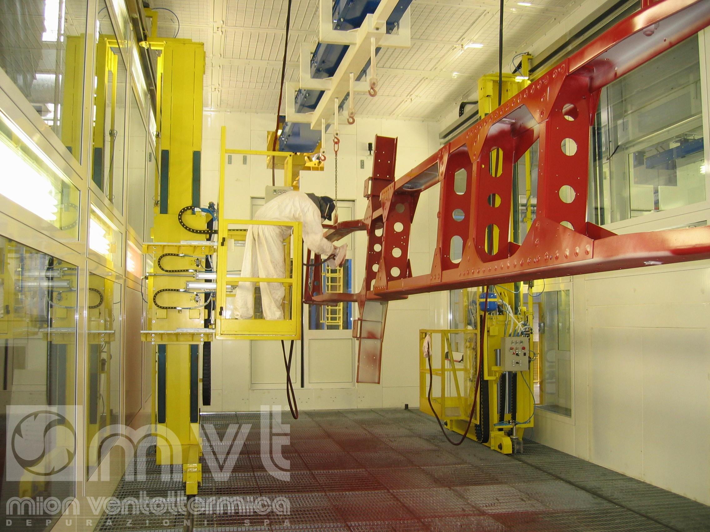 Impianto e cabina di verniciatura pressurizzata